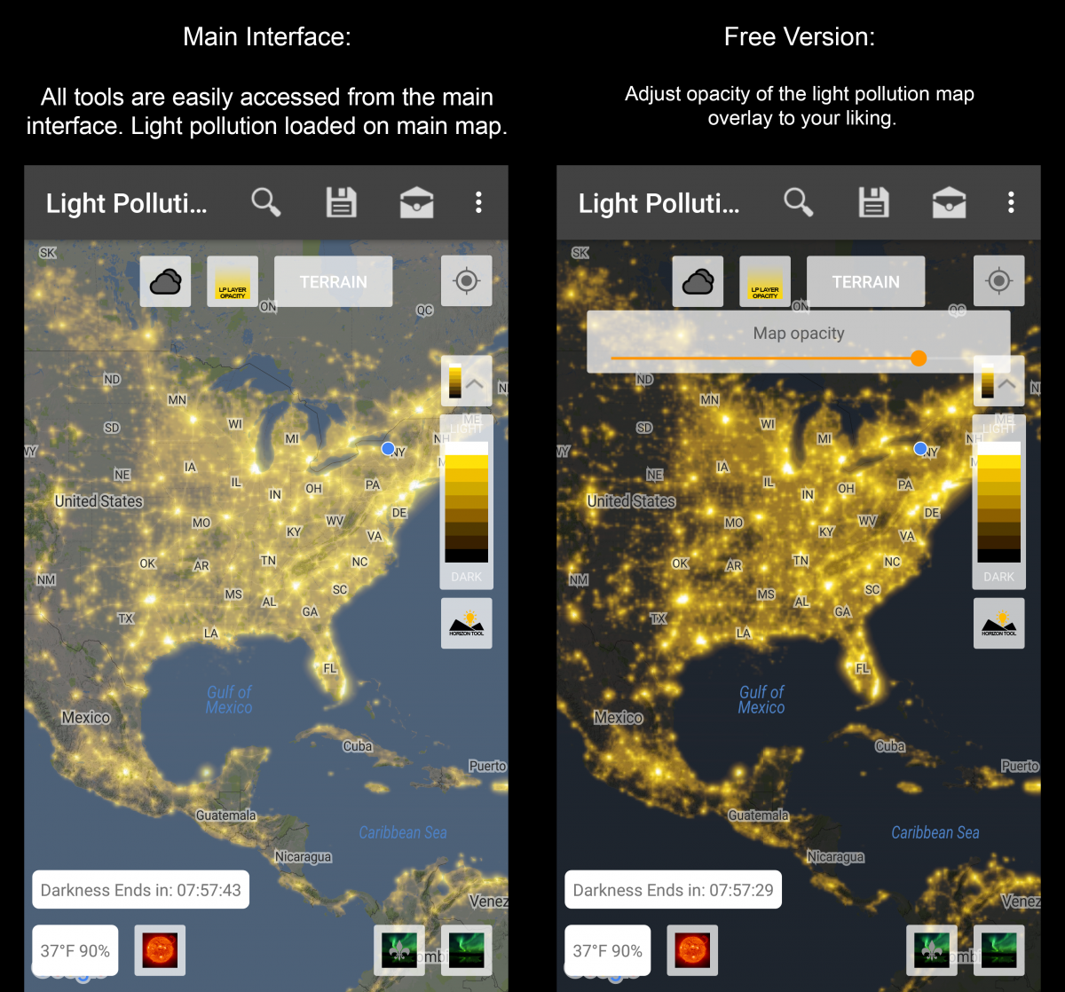 Light Pollution Map Photographers Arsenal - Light-pollution-map-us