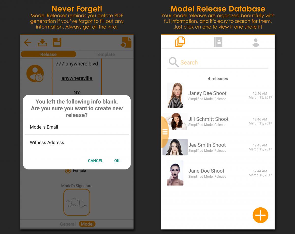 Model releaser model release app screenshots falaconquin